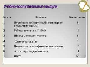 Учебно-воспитательные модули № п/пНазваниеКол-во м –м 1Постоянно-действующ