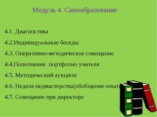 Модуль 4. Самообразование 4.1. Диагностика 4.2.Индивидуальные беседы 4.3. Оп