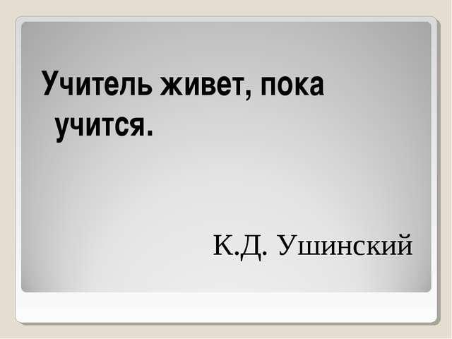 Учитель живет, пока учится. К.Д. Ушинский