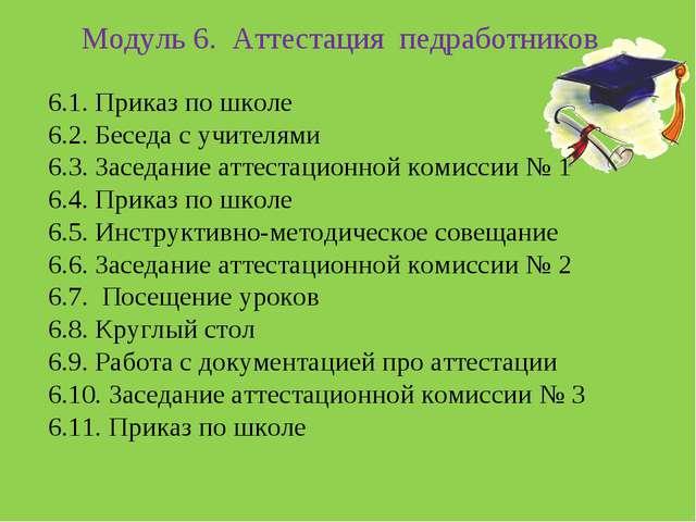 Модуль 6. Аттестация педработников 6.1. Приказ по школе 6.2. Беседа с учител...