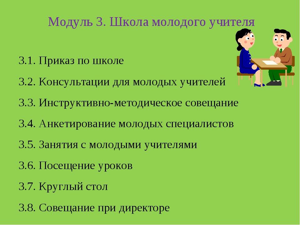 Модуль 3. Школа молодого учителя 3.1. Приказ по школе 3.2. Консультации для...