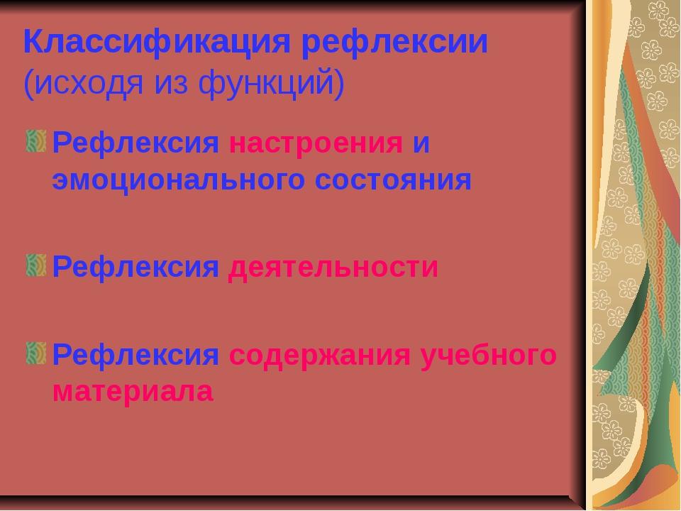 Классификация рефлексии (исходя из функций) Рефлексия настроения и эмоционал...
