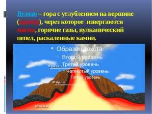 Вулкан – гора с углублением на вершине (кратер), через которое извергаются ма
