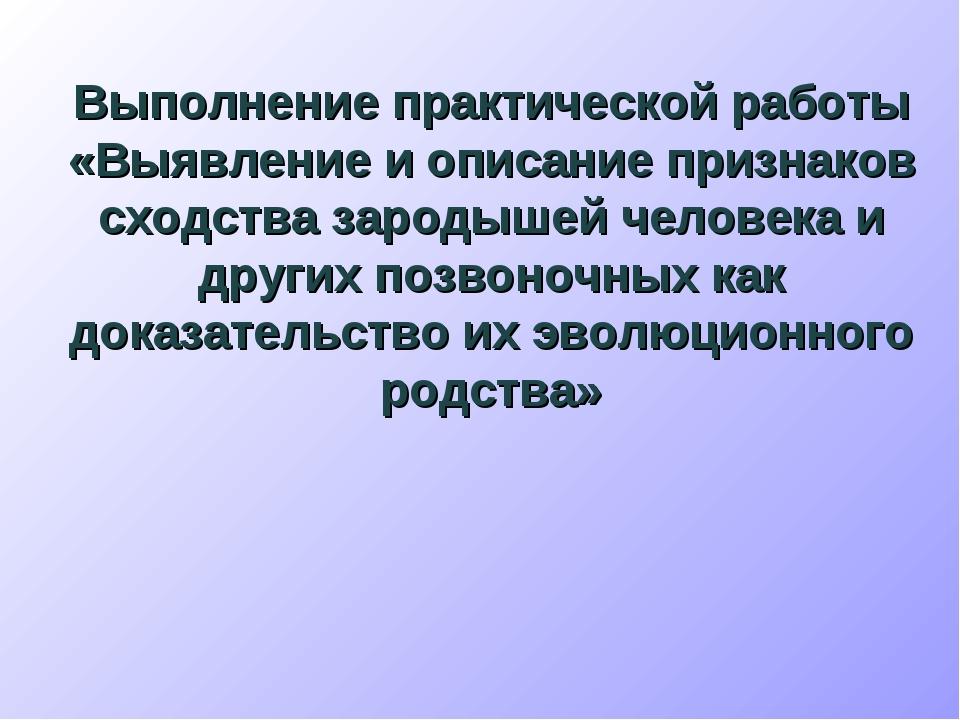Выполнение практической работы «Выявление и описание признаков сходства зарод...
