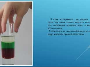 В итоге эксперимента мы увидели, что сироп, как самая плотная жидкость, осел