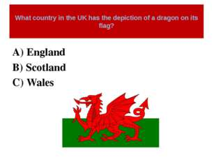 What country in the UK has the depiction of a dragon on its flag? A) England