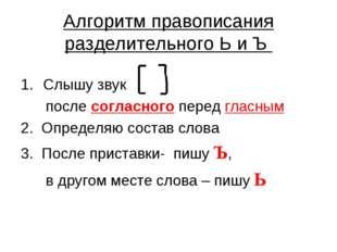 Алгоритм правописания разделительного Ь и Ъ Слышу звук после согласного перед