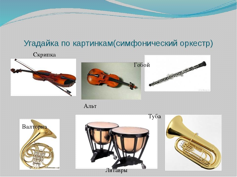Угадайка по картинкам(симфонический оркестр) Скрипка Гобой Гобой Альт Туба Ва...