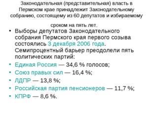 Законодательная (представительная) власть в Пермском крае принадлежит Законод