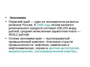 Экономика Пермский край— один из экономически развитых регионов России. В 2