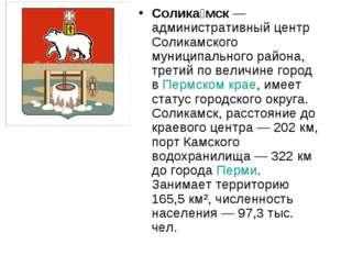 Солика́мск—административный центр Соликамского муниципального района, третий