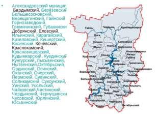 Александровский муниципальный район Бардымский, Берёзовский, Большесосновский