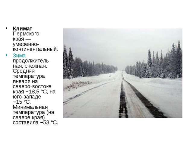 Климат Пермского края— умеренно-континентальный. Зима продолжитель ная, снеж...