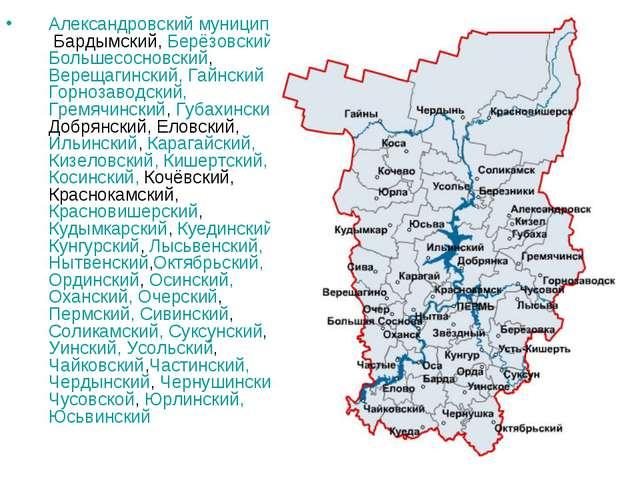 Александровский муниципальный район Бардымский, Берёзовский, Большесосновский...