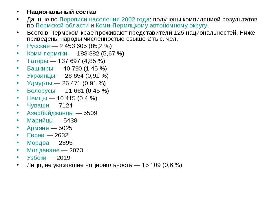 Национальный состав Данные по Переписи населения 2002 года; получены компиляц...
