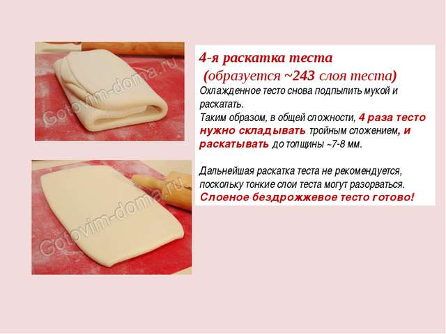 4-я раскатка теста (образуется ~243 слоя теста) Охлажденное тесто снова подпы...