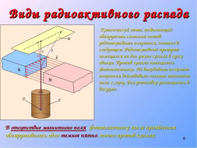 * Виды радиоактивного распада Классический опыт, позволяющий обнаружить сложн...