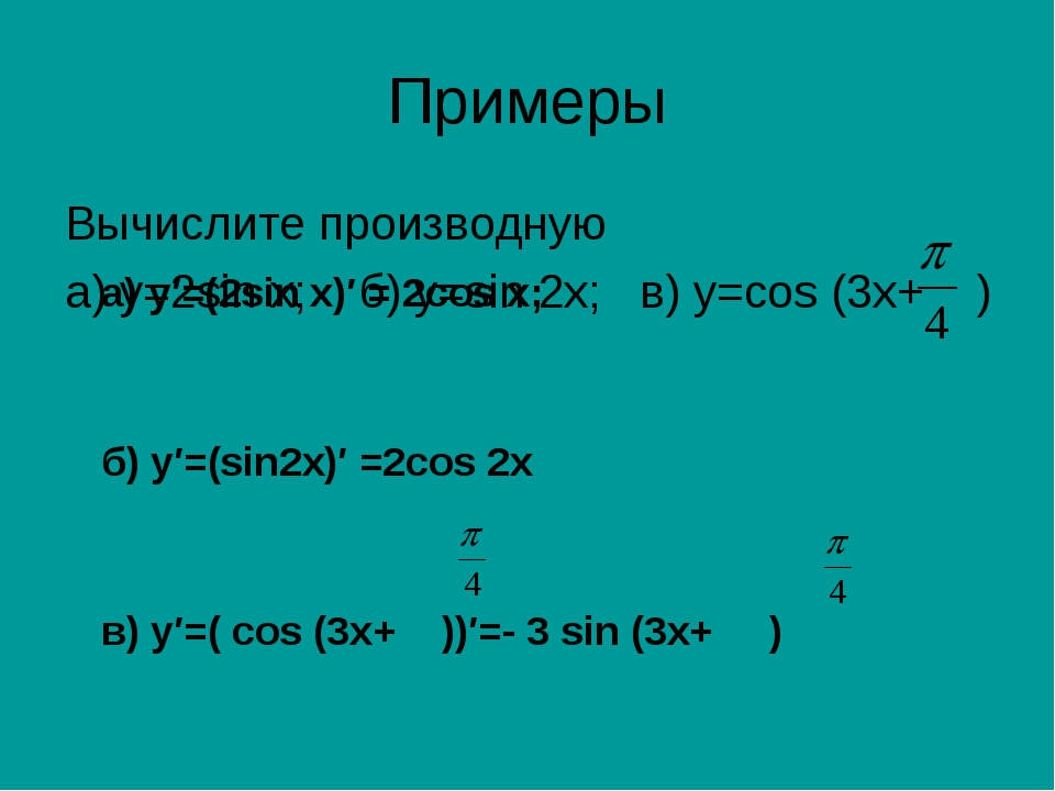 Примеры Вычислите производную а) у=2sin х; б) y=sin 2x; в) y=cos (3x+ ) а) у′...