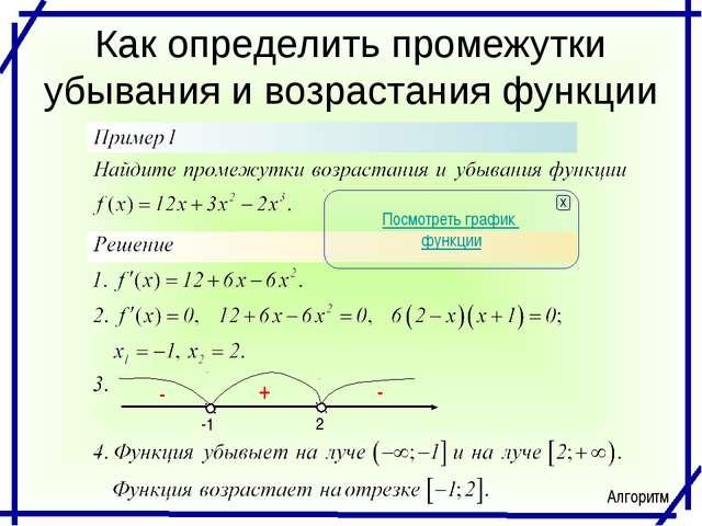 Как определить промежутки убывания и возрастания функции -1 2 + - - Посмотрет...
