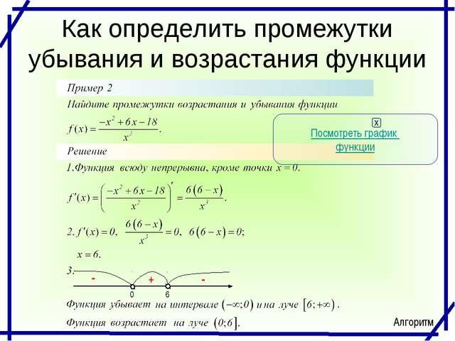 Как определить промежутки убывания и возрастания функции Посмотреть график фу...