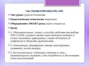 Тема: ГЛАСНЫЕ В ПРИСТАВКАХ ПРЕ- и ПРИ- Тип урока: урок-исследование Педагогич