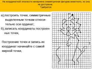 На координатной плоскости начерчена симметричная фигурка животного, но она не