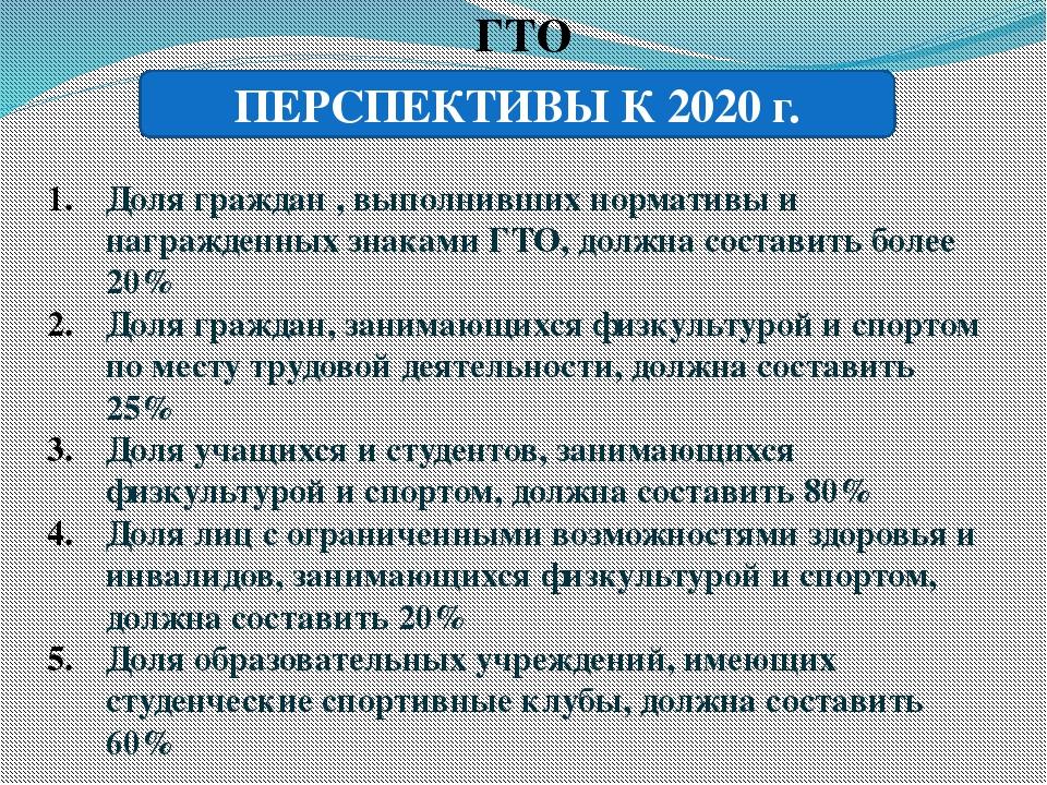 ГТО ПЕРСПЕКТИВЫ К 2020 г. Доля граждан , выполнивших нормативы и награжденных...