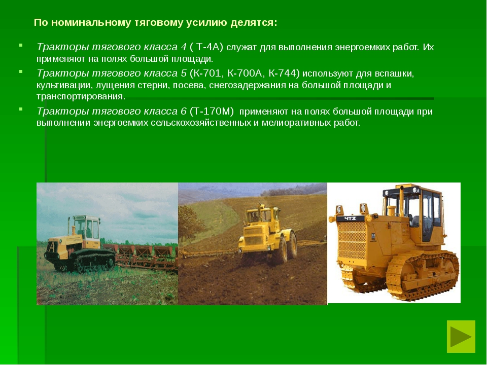 По номинальному тяговому усилию делятся: Тракторы тягового класса 4 ( Т-4А)...
