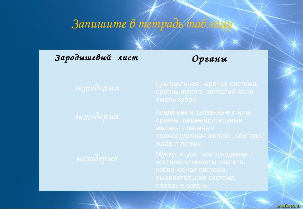 Запишите в тетрадь таблицу Зародышевый лист Органы эктодерма Центральная нерв...