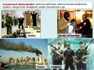 Социальные катастрофы: военные действия; межэтнические конфликты; теракты; ба