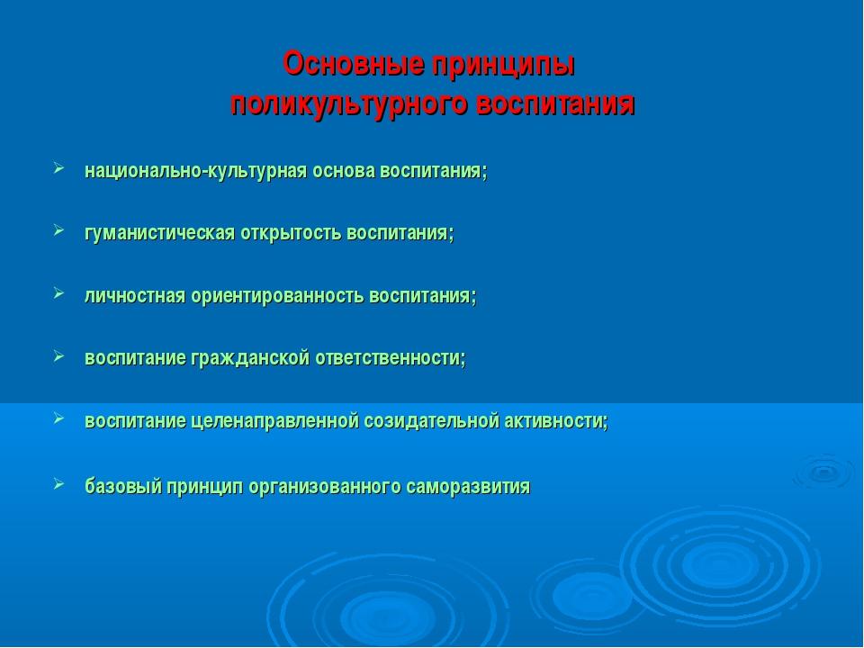 Основные принципы поликультурного воспитания национально-культурная основа во...
