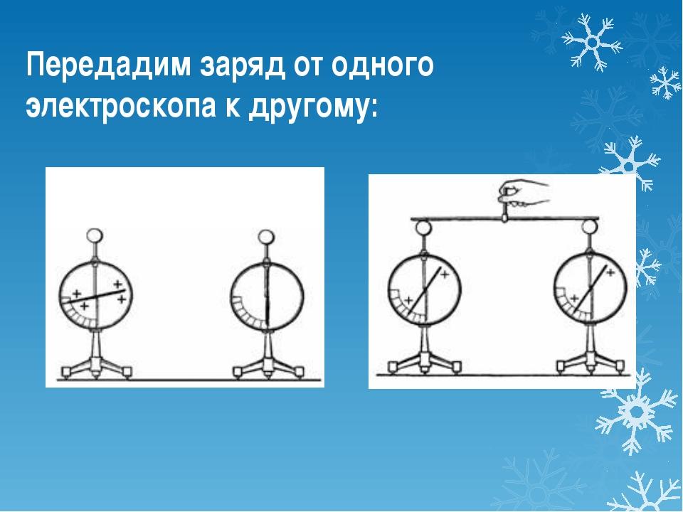 Передадим заряд от одного электроскопа к другому: