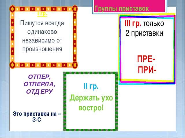 Группы приставок Это приставки на –З-С I гр. Пишутся всегда одинаково независ...