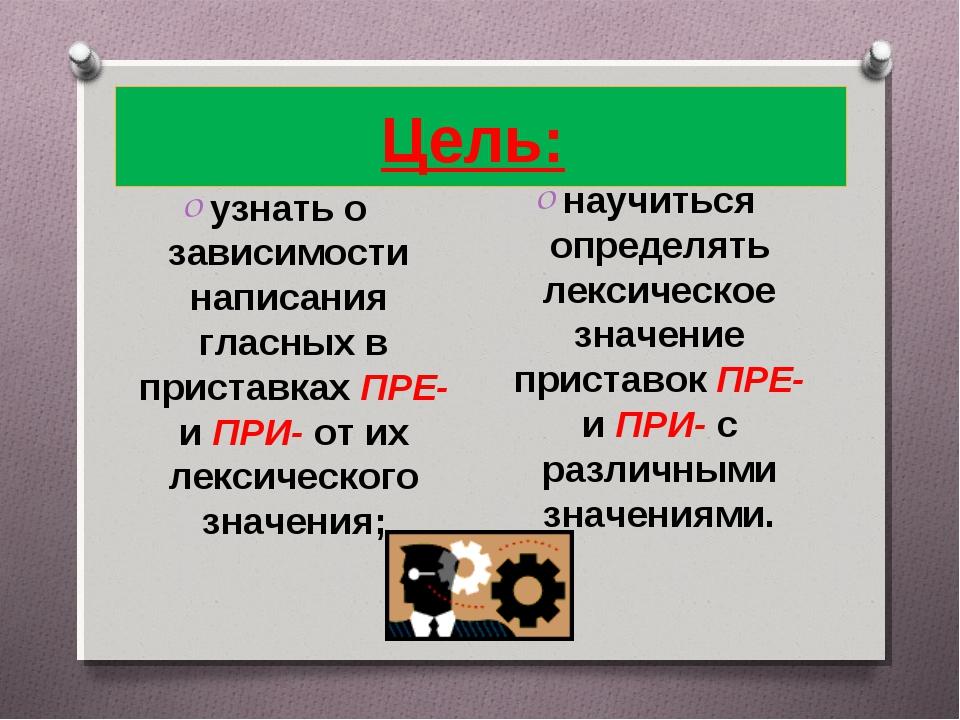 Цель: узнать о зависимости написания гласных в приставках ПРЕ- и ПРИ- от их л...