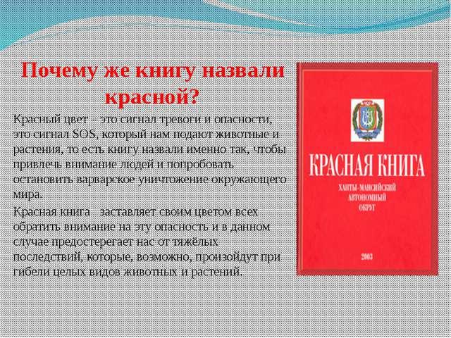 Почему же книгу назвали красной? Красный цвет – это сигнал тревоги и опасност...