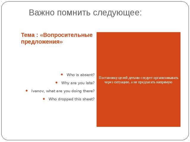 Важно помнить следующее: Тема : «Вопросительные предложения» Who is absent?...