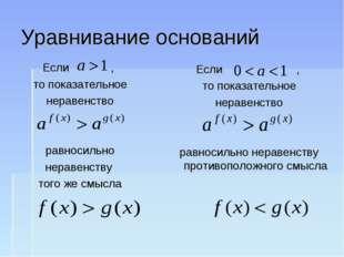Уравнивание оснований Если , то показательное неравенство равносильно неравен