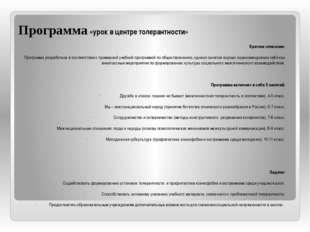 Программа «урок в центре толерантности» Краткое описание: Программа разработа