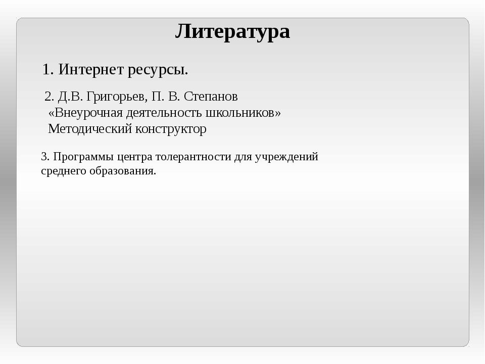 Литература 1. Интернет ресурсы. 2. Д.В. Григорьев, П. В. Степанов «Внеурочная...