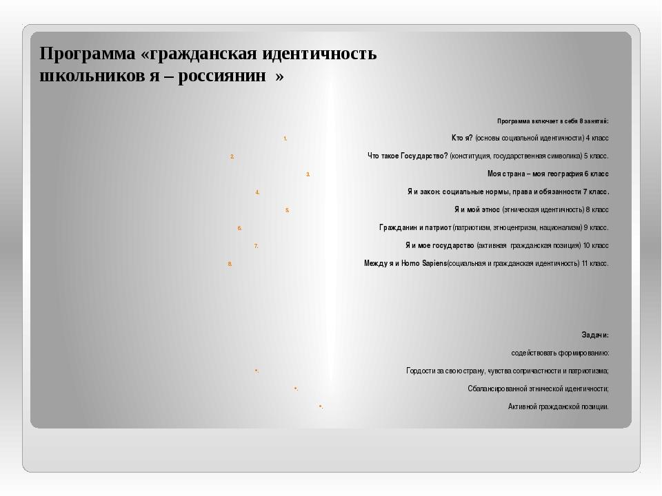 Программа «гражданская идентичность школьников я – россиянин » Программа вклю...