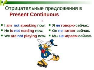 Отрицательные предложения в Present Continuous - I am not speaking now. He is