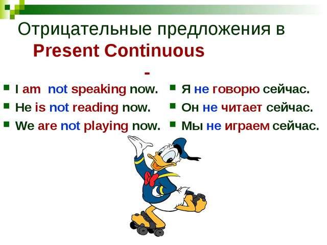 Отрицательные предложения в Present Continuous - I am not speaking now. He is...