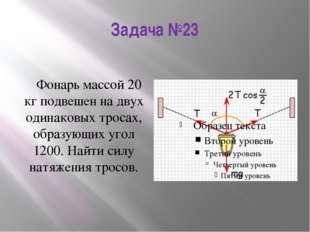 Задача №23 Фонарь массой 20 кг подвешен на двух одинаковых тросах, образующих