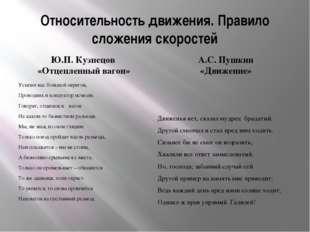 Относительность движения. Правило сложения скоростей Ю.П. Кузнецов «Отцепленн