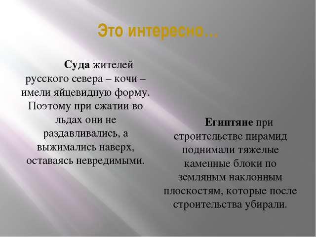 Это интересно… Суда жителей русского севера – кочи – имели яйцевидную форму....