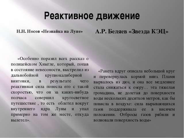 Реактивное движение Н.Н. Носов «Незнайка на Луне» А.Р. Беляев «Звезда КЭЦ» «О...