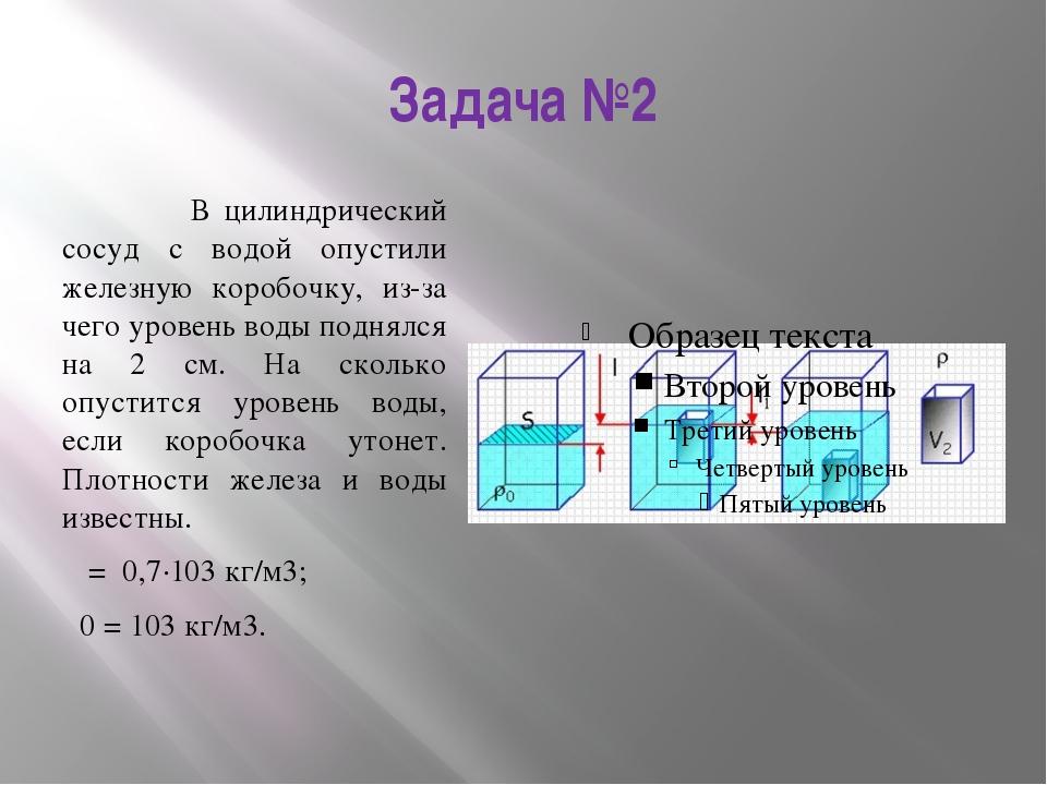 Задача №2 В цилиндрический сосуд с водой опустили железную коробочку, из-за ч...