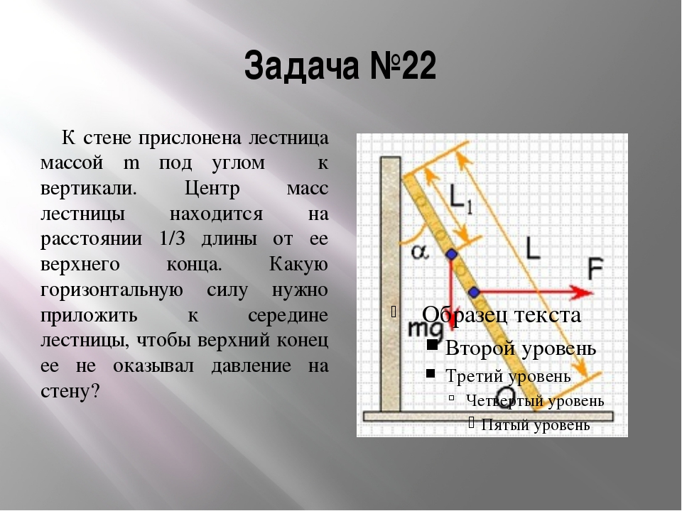 Задача №22 К стене прислонена лестница массой m под углом α к вертикали. Цент...