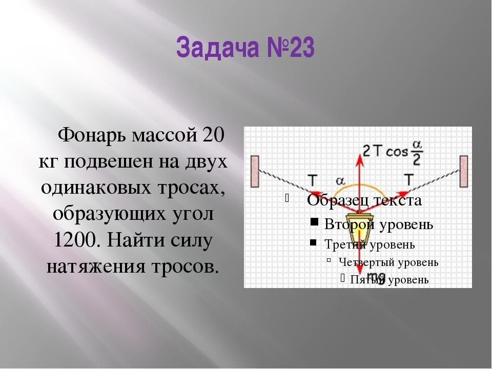 Задача №23 Фонарь массой 20 кг подвешен на двух одинаковых тросах, образующих...