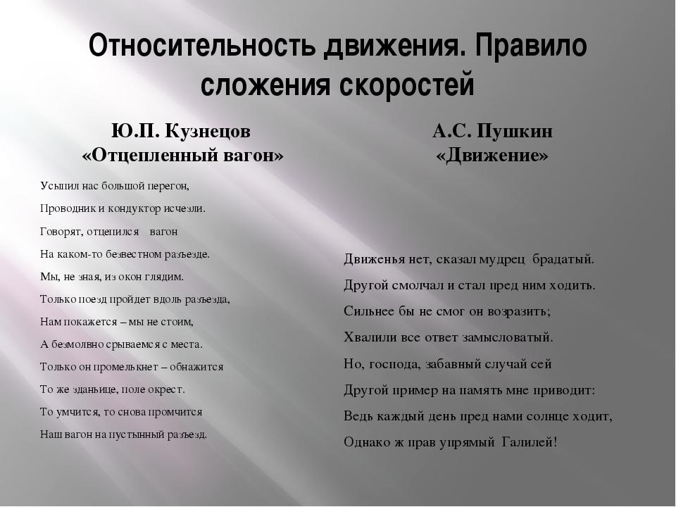Относительность движения. Правило сложения скоростей Ю.П. Кузнецов «Отцепленн...